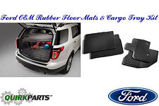2011-2015 Ford Explorer Rubber All Weather Floor Mat & Cargo Area Protector OEM