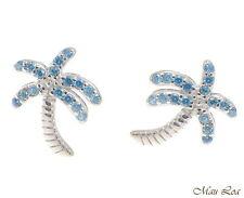 925 Sterling Silver Blue Topaz Hawaiian Palm Tree Post Stud Earrings