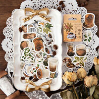 46pcs Vintage Coffee Shop Stickers DIY Scrapbooking Phone Sticker Self Adhesive'