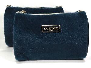 2pc Lancôme Faux Fur & Faux Patent Leather Cosmetic Makeup Bag with Charm (blue)