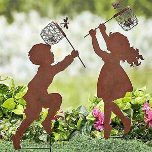 3D Catch butterfly wings metal rustic fairy silhouette garden stake art decor