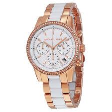 Michael Kors Ritz Quartz White Dial Rose Gold White Acetate Ladies Watch MK6324