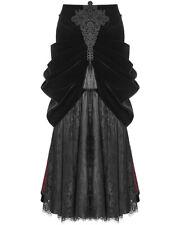 Punk Rave Long Gothic Skirt Black Red Velvet Lace Steampunk VTG Victorian Bustle
