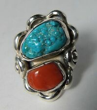 Stunning Johnny Mike Begay Navajo Indian Native American Turquoise Coral Ring s6