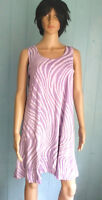 JOSTAR Tank DRESS Lavender Wavy Lines Poly Spandex TRAVEL FABRIC M, L, XL