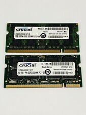 Crucial 4GB (2x 2GB) RAM 200 PIN DDR2 PC2-64 SODIM  - Tested Mint Condition.
