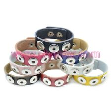 Faux Leather Noosa style snap chunk 3 button wrap round bracelet