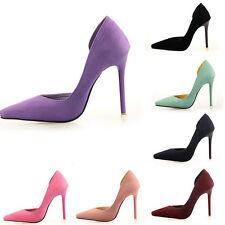 Fashion Womens High Heel Suede Slow Cut Point Toe Pumps Stiletto Court Shoes