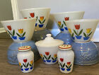 FIRE KING TULIPS ON WHITE COMPLETE SET BOWLS GREASE BOWL WITH LID AND S&P SHAKER