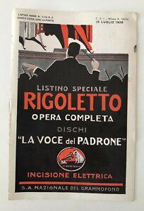 LISTINO MENSILE NOVITA' LA VOCE DEL PADRONE N. 2 BIS 15 LUGLIO 1928 RIGOLETTO