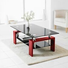 Red Modern Rectangle Glass & Chrome Living Room Coffee Table With Lower Shelf