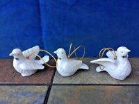 """Antique Vintage SET of 3 White Peace Holly Dove Pigeons Christmas Ornament 3"""""""