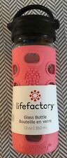 Lifefactory 12 oz Glass Water Bottle with Classic Cap and Silicone Sleeve Coral
