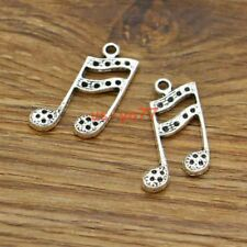 20 Treble Clef Charms Music Note Singing Charms Antique Silver Tone 20x29 3033
