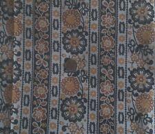 """Vintage Sheer Crisp Cotton Organdy Mod Floral Brown Gold Stripe Fabric 44"""" 4 Yds"""