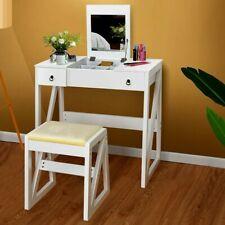 Girls Dressing Table And Stool With Folded Make Up Mirror White MDF Writing Desk