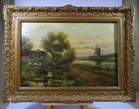 H. H. Ros 1870 - 1954 Landschaft mit Windmühle Bauernhof Schafe Oel auf Leinwand