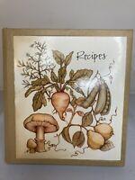 "Vintage Hallmark 1971 Recipe Ring Binder Book 6.25""x6"" Mushrooms,Turnips,Veggies"