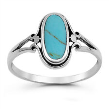 Boho Vintage Style 925 Sterling Silver Oval Turquoise Gemstone Ring