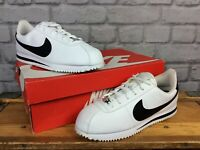 NIKE CORTEZ WHITE BLACK LEATHER TRAINERS CHILDRENS GIRLS LADIES MANY SIZES T