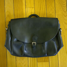 MULHOLLAND BROTHERS Mens All Leather Messenger Bag Brief Case Black