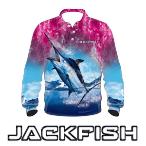 JACKFISH Marlin Long Sleeve Fishing Shirt - PINK KIDS YOUTH UV 2,4,6,8,10,12,14