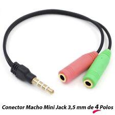 Cable Adaptador Separador de Auriculares y Micrófono Macho Jack 35mm 4 Polos PS4