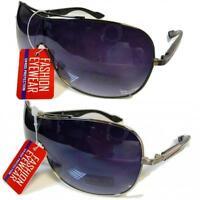 New Mens Womens Large Metal Aviator Designer UV400 Black Sunglasses SE28