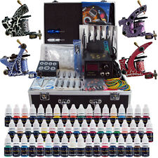 Complete Tattoo Kit 4 Pro Machine Guns 54 Inks Power Supply Foot Pedal Needles