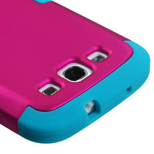 For Samsung Galaxy S III 3 Rubber IMPACT TUFF HYBRID Case Cover Rose Pink Teal