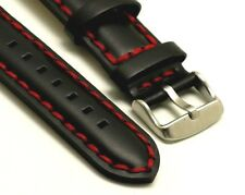 20mm Black HQ Smooth Leather Red Thick Stitching Watch Strap Stainless Buckle