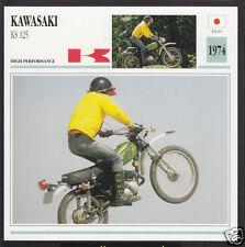 1974 Kawasaki KS 125cc (124cc) Japan Trail Bike Motorcycle Photo Spec Info Card