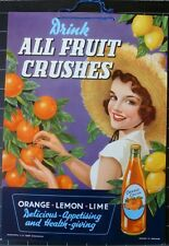 ORIGINAL SHOWCARD FOR ALL FRUIT CRUSHES SOFT DRINKS BY DUCKWORTHS 1930s