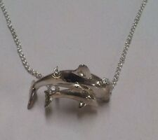 30 Inch Sterling 925 Chain Necklace Mother & Child Dolphin Porpoise Pendant