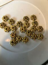 20 8mm Gold  Rondelle Fancy Daisy Spacer Bali Style Pewter Beads SALE #10