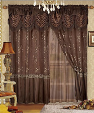 Luxury Window Panel Valance Sheer Curtain Set Home Embroidery Backing Drapes New
