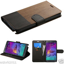 Samsung Galaxy Note 4 Wood Grain Look Folio Wallet Pouch Cover Brown/B