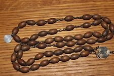 Vintage Lourdes Wooden Beads Rosary with Inaccrochable Medal Garant France