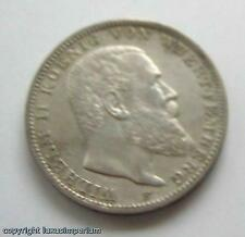 B <<Coin Münze 3 Mark Württemberg 1910 F - König Wilhelm II. 900 Silber