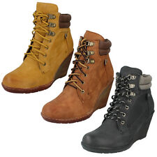 WOMENS LADIES SPOT ON PADDED TOP HIGH WEDGE LACE UP ANKLE BOOTS SIZE F5R0324