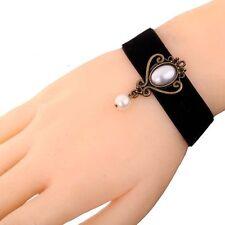 Gothic Lolita Steampunk Venetian Pearl Velvet Bracelet