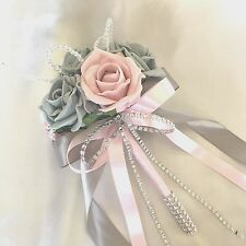 FLOWERGIRLS POSY, BABY PINK & GREY ROSES,  CRYSTALS, ARTIFICIAL WEDDING FLOWERS
