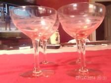 VINTAGE DEPRESSION 4 PINK CRYSTAL GLASS WINE MARTINI GLASSES FLOWER VINES STEMME