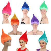 Adult Trolls Wig Fancy Dress Blaze Flame Gradient Hair Costume Halloween Party