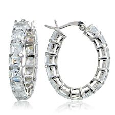 925 Silver 10ct Asscher Cut CZ Oval Hoop Earrings
