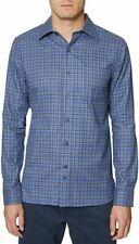 Hickey Freeman Mens Shirt Blue US Size XL Button Down Plaid Flannel $125 231