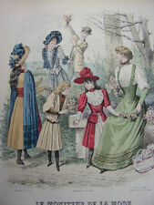 """30/ GRAVURE DE MODE """" Moniteur de la Mode Paris 1891 """".   Grand format 36x26"""
