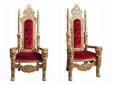 Poltrona trono Barocco foglia oro velluto rosso sparovski h 180cm cod.MI KRS215G