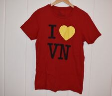 Giordano I LOVE VIETNAM T SHIRT Size Small Red Yellow Black Heart VN Slim Fit