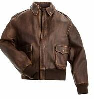 Men's A2 Aviator Air Force Distressed Flight Bomber Cowhide Real Leather Jacket